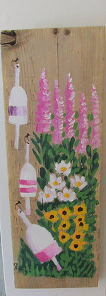 Shades of Pink 3 Hand Painted on Driftwood by Artisan Candace McKellar