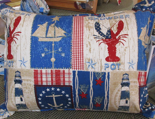 Lighthouse and Lobster Pillow by Artisan Carol Tattan