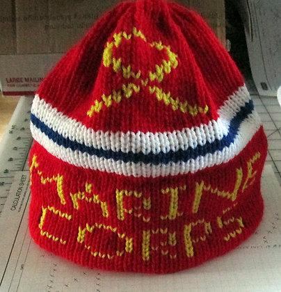 Marine Corps Supporter Handknit Hat by Artisan Keepsake NogginKnits