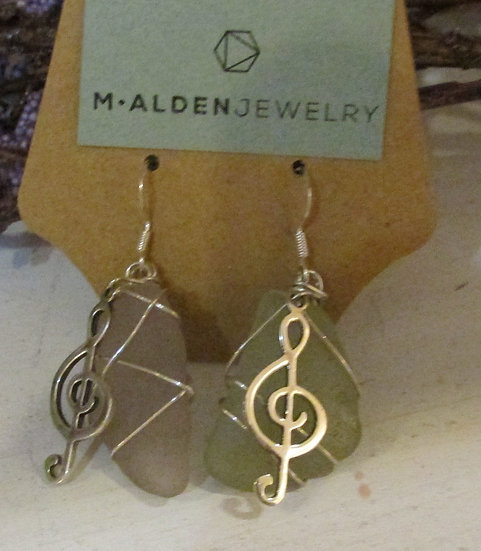Seaglass Earrings wrapped in Sterling Silver
