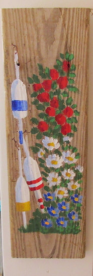 A Splash of Red Hand Painted on Driftwood