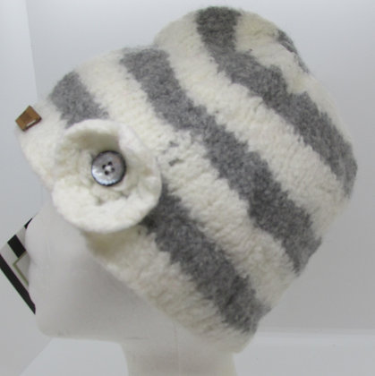 Casual stripes Handmade Felted Wool Hat by Artisan May Bouchard