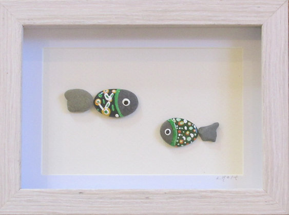 Fishing with 2, Framed Wall Hanging by Artisan Lisa Holt