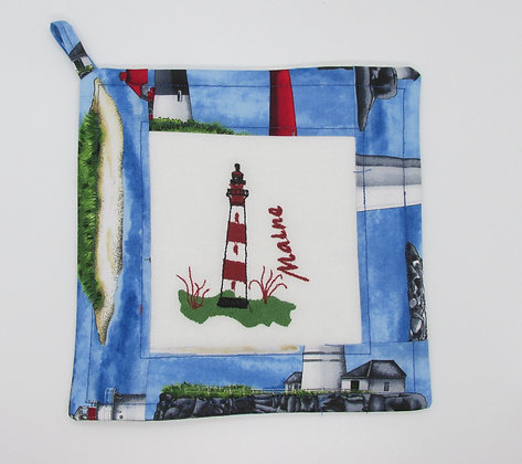 Embroidered Maine Lighthouse Pot Holder by Artisan May Bouchard