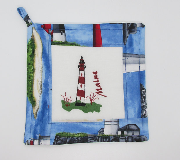 Embroidered Maine Lighthouse Pot Holder