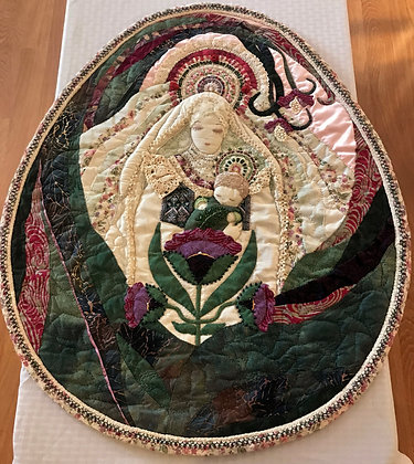 Mother and Child Embroidered Wall Art by Artisan Kathy Beauregard