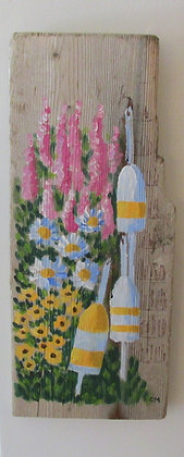 Flowers Forever Hand Painted on Driftwood by Artisan Candace McKellar