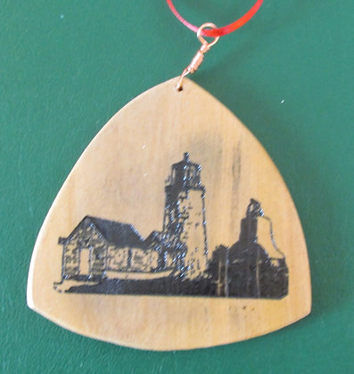 A Lightkeeper's World Wooden Guitar Pick Ornament by Artisan Chris Gray