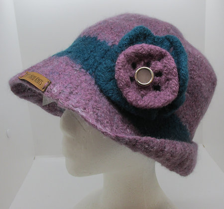 Lavendar and Teal  Beauty Handmade Felted Wool Hat by Artisan May Bouchard