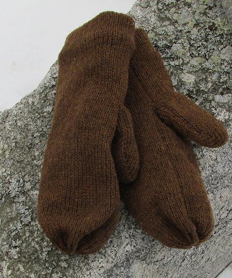 Teddy Bear Fleece lined Wool Handknit Mittens