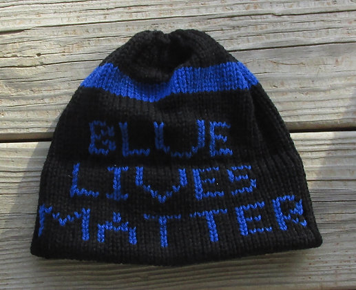 Blue Lives Matter Handknit Hat by Artisan Keepsake NogginKnits