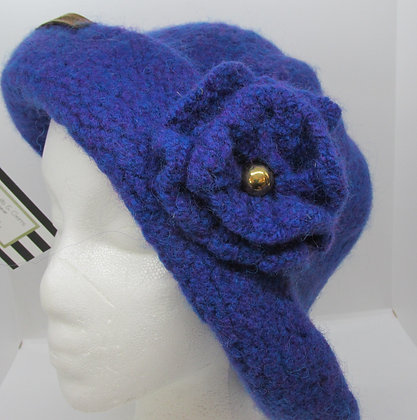 Radiant Blue Handmade Felted Wool Hat by Artisan May Bouchard