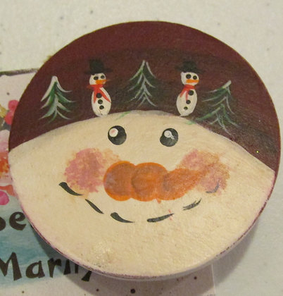 Snowman Holiday Pin by Artisan Marilyn Parker