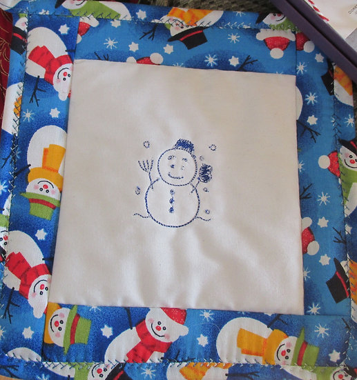 Embroidered Snowman Pot Holder