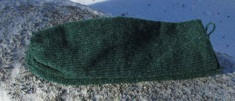 Mountain Green Double Knit Wool Handknit Mittens