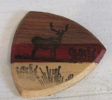 Deer in the Field Wooden Guitar Pick by Artisan Chris Gray
