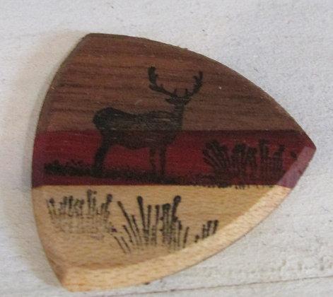 Deer in the Field Wooden Guitar Pick by Artisan Chris Gray