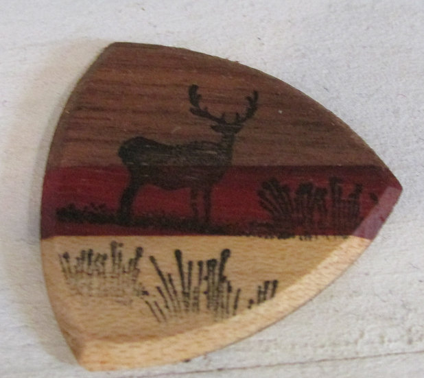 Deer in the Field Wooden Guitar Pick