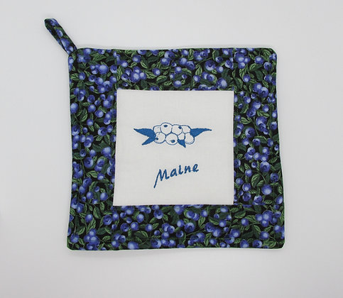 Embroidered Maine Blueberry Pot Holder by Artisan May Bouchard