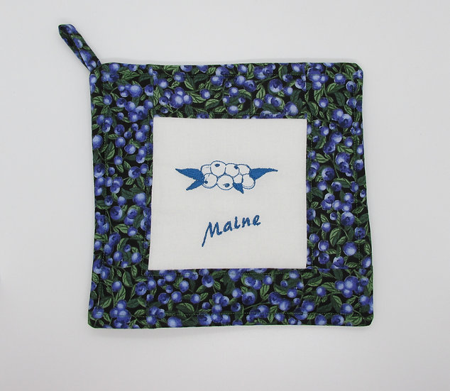 Embroidered Maine Blueberry Pot Holder