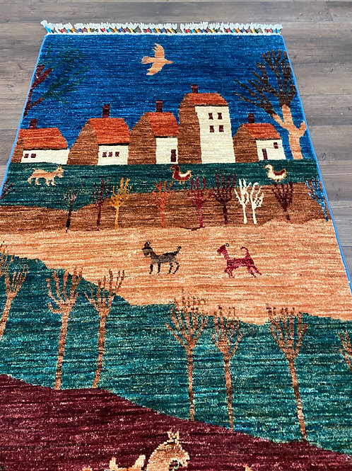 Pakistani Pictorial Runner, Gabbeh Design - Also Sold as Pair