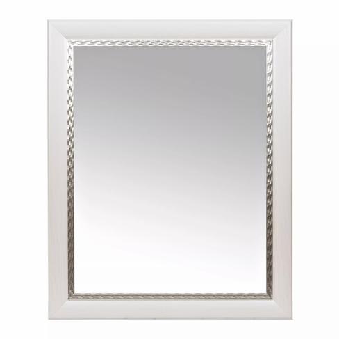 K219613, White Mirror with Silver Woven Edge