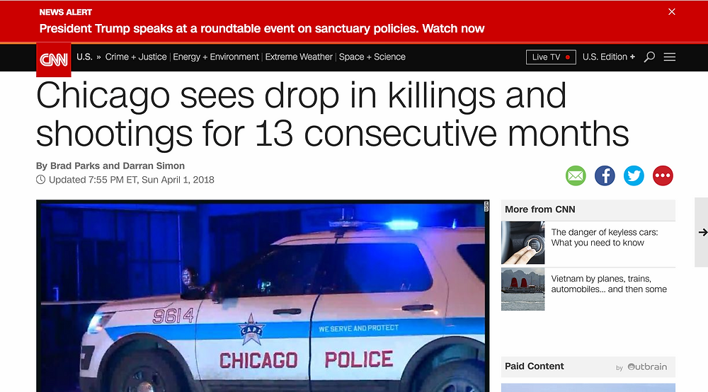 Chicago Sees Drop In Killings and Shootings for 13 Consecutive Months.