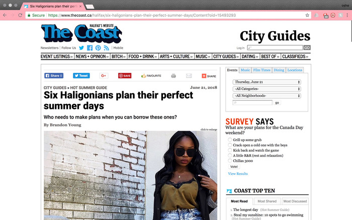 Featured in The Coast as a Lifestyle Blogger