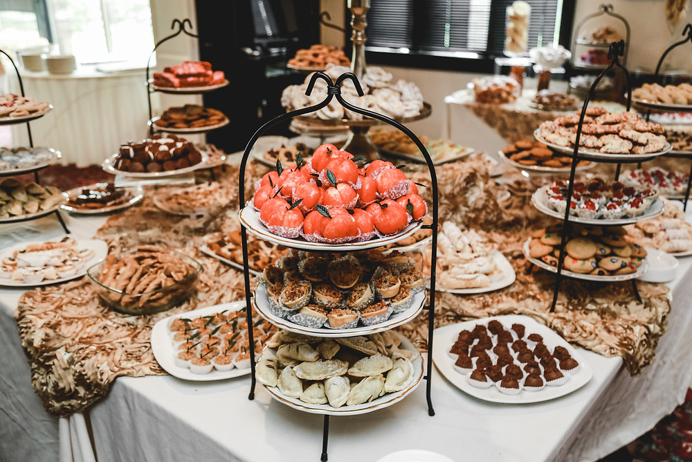 Loaded cookie table at a wedding reception