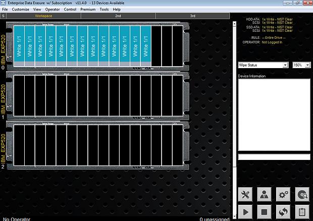 Data Erasure software GUI for erasing storage arrays
