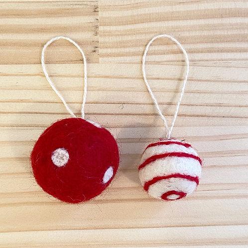 フェルトボール3.5cm 赤白・グレー白 クリスマス