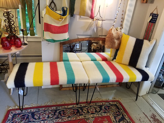 A Hudson Bay Blanket Bench with hairpin legs.