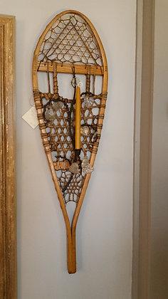 Antique wooden snowshoes w/vine sconces