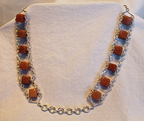 Necklace: Golden Jade and Silver