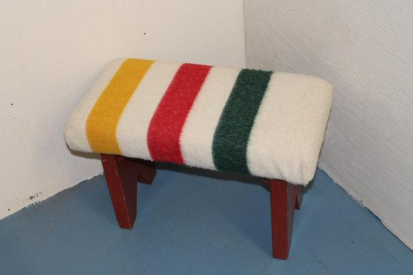 Vintage Stool with Re-purposed Hudson Bay Blanket