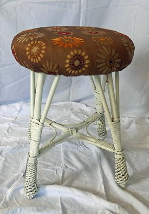 White Wicker Stool