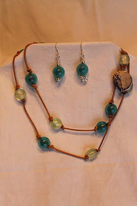 Necklace and Earrings: Blue Venetian glass beads