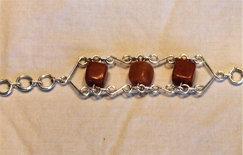 Bracelet: Golden Jade and silver