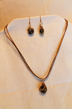 Necklace & Earrings: Fulgurite & Sterling Silver