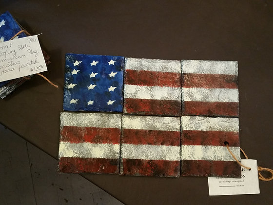 Vermont roofing slate American flag coasters