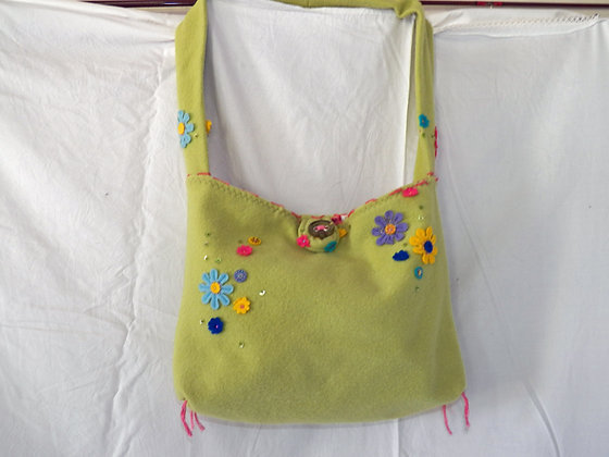 Boiled Wool Purse with Flowers