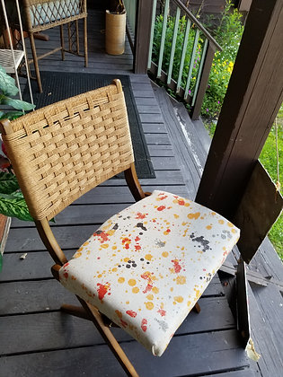 VINTAGE HAAS WAGNER STYLE FOLDING CHAIR, re-imagines with new upholstery.