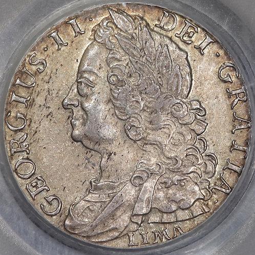 George II, 1727-60. Shilling, 1745 LIMA. CGS Encapsulated.