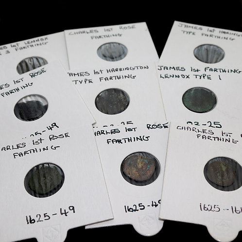 James I and Charles I. Farthings. (9 Coins)