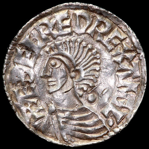 Aethelred II, 978-1016. Penny. Long Cross Type. York Mint. Moneyer Oban.