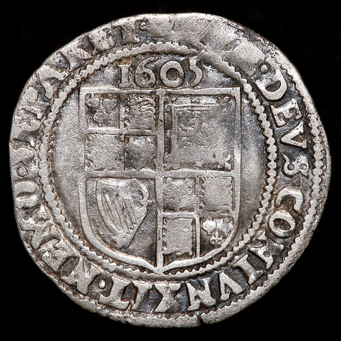 James I, 1603-25. Sixpence, 1605. Second Coinage, 1604-19. Tower Mint, mm. Rose.