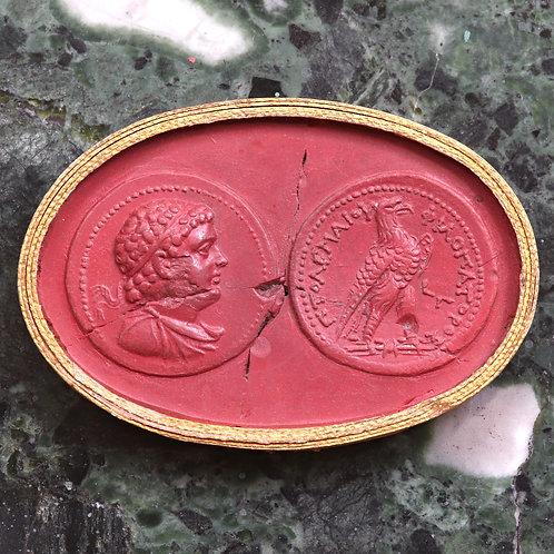 A 19th Century Grand Tour Wax Coin Impression. Ancient Ptolematic Tetradrachm.