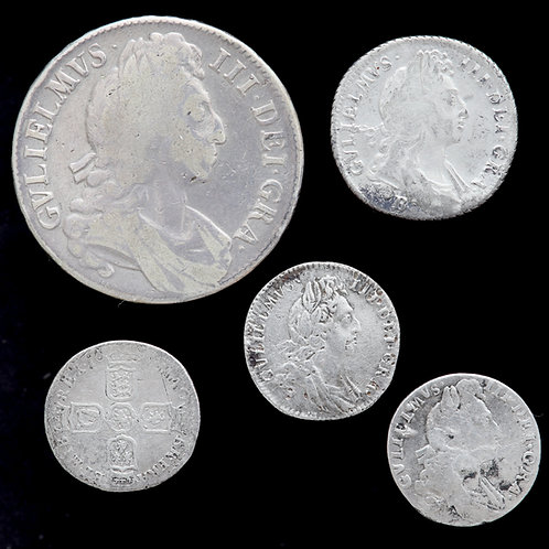 William III, 1694-1702. Crown, Shilling And Sixpences. (5 Coins)