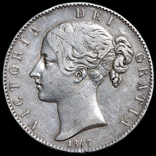 Victoria, 1837-1901. Crown, 1847. XI Edge. Scarce.