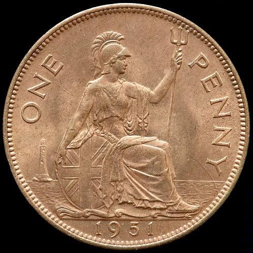 George VI, 1937-52. Penny, 1951. Scarce.